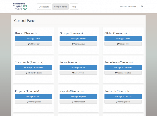 Healthpoint Control Panel